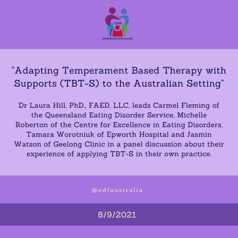 Adapting TBT-S to the Australian setting webinar for EDFA